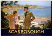 Scarborough, Yorkshire. It's Quicker By Rail. LNER Vintage Travel Poster by W Smithson Broadhead
